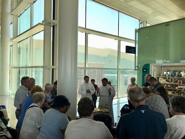 Pilgrimage 6 - Mass at airport in Spain